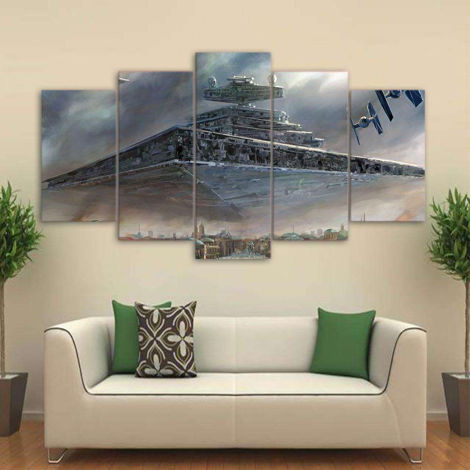Star Wars 5 Piece Canvas Wall Art | Imperial Star Destroyer & Tie Fighters