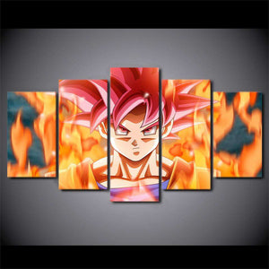 Dragon Ball Z 5-Piece Canvas Wall Art | Super Saiyan Red