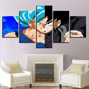 Dragon Ball Z 5-Piece Canvas Wall Art | Goku VS. Goku