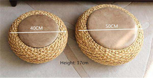 Knitted Wicker Rattan Tatami Pouf With Leather Seat