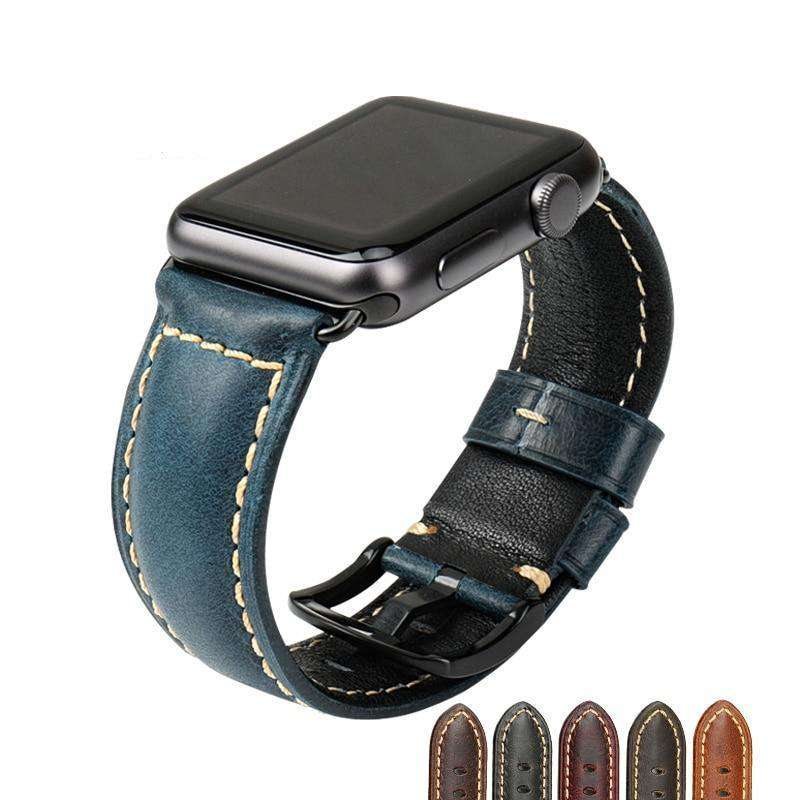 the QUINN | Oil Wax Leather Apple Watch Band | 42mm 38mm / 44mm 40mm