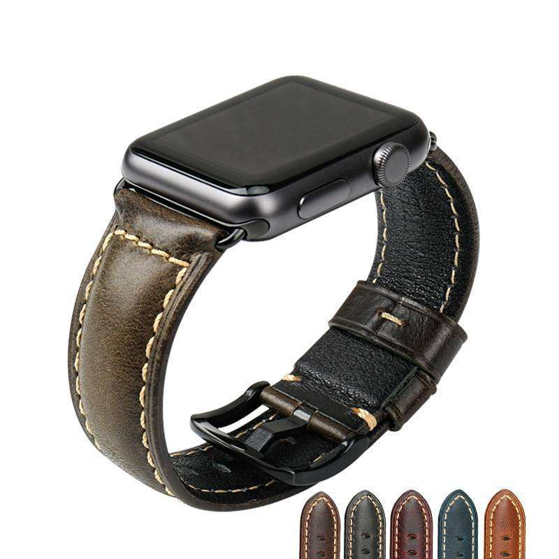 the CARDIFF | Oil Wax Leather Apple Watch Band | 42mm 38mm / 44mm 40mm