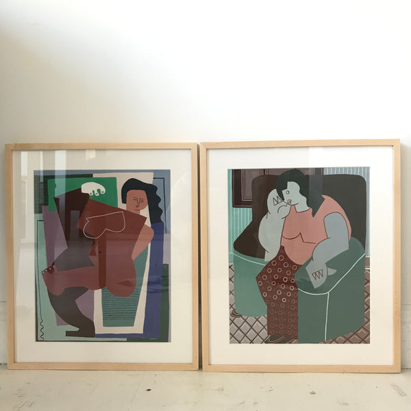 Pair Guache Paintings