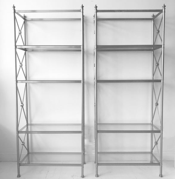 Polished Steel Bookshelves