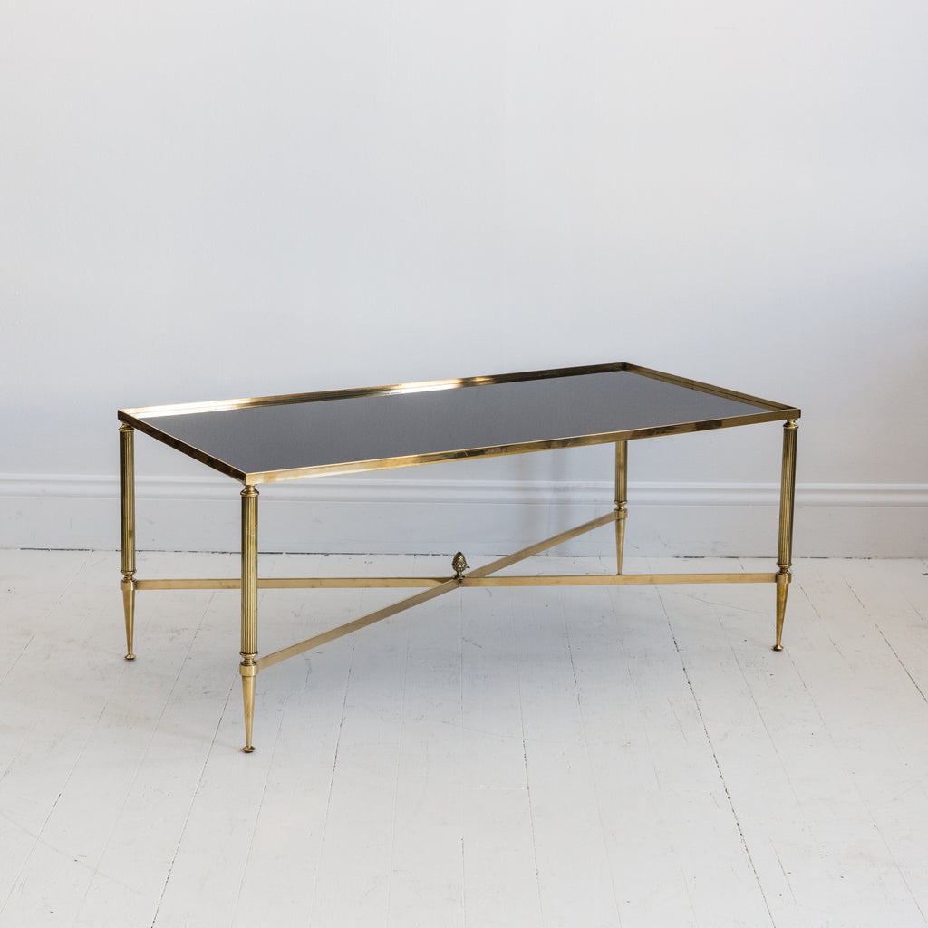 French Brass and Black Glass Table