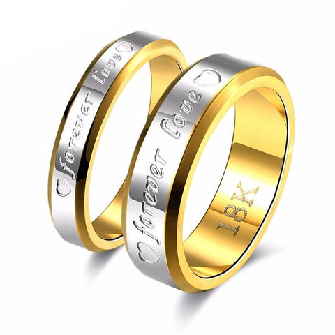 Forever Love Stainless Steel/Gold Couple Rings