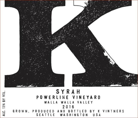 K Vintners Powerline Syrah 2016 - 750ml