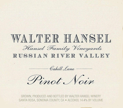 Walter Hansel Cahill Lane Pinot Noir 2017- 750ml