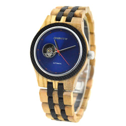 Automatic Wooden Wristwatch for Men - Olive and Blue