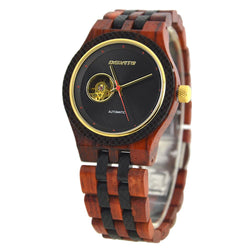 Automatic Wooden Wristwatch for Men - Rose & Black