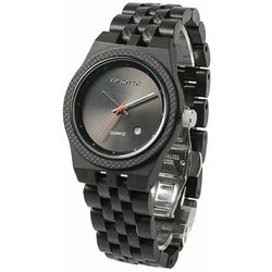Two Tone Wooden Band Wristwatch - Black