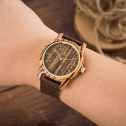 Unisex Leather Strap Wood Watch