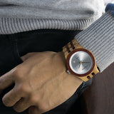 Two Tone Wooden Band Wristwatch - Olive, Rose & Blue
