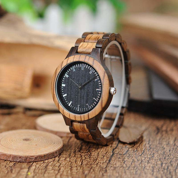 Handmade Ebony Zebra Wood Men Watch