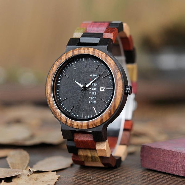 Exquisite Handmade Multicolored Wooden Straps Watch