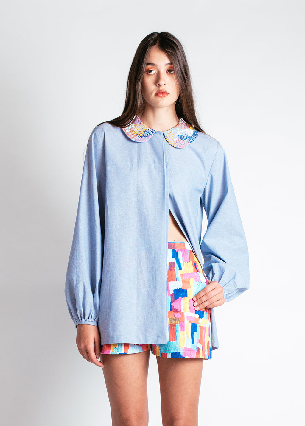 Meduoso Babydoll Blouse with Hand-Embroidered Collar in Chambray