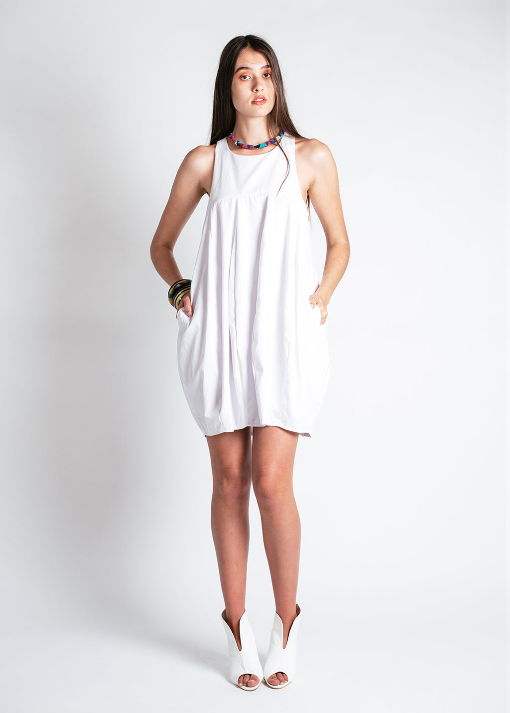Noctiluca Day Dress in White