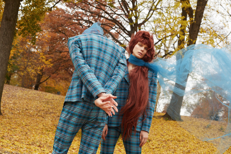 Blue Tartan Suit Jacket - Unisex