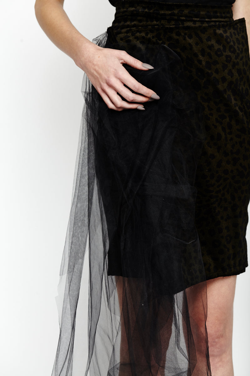 Black Leopard Wrap Skirt