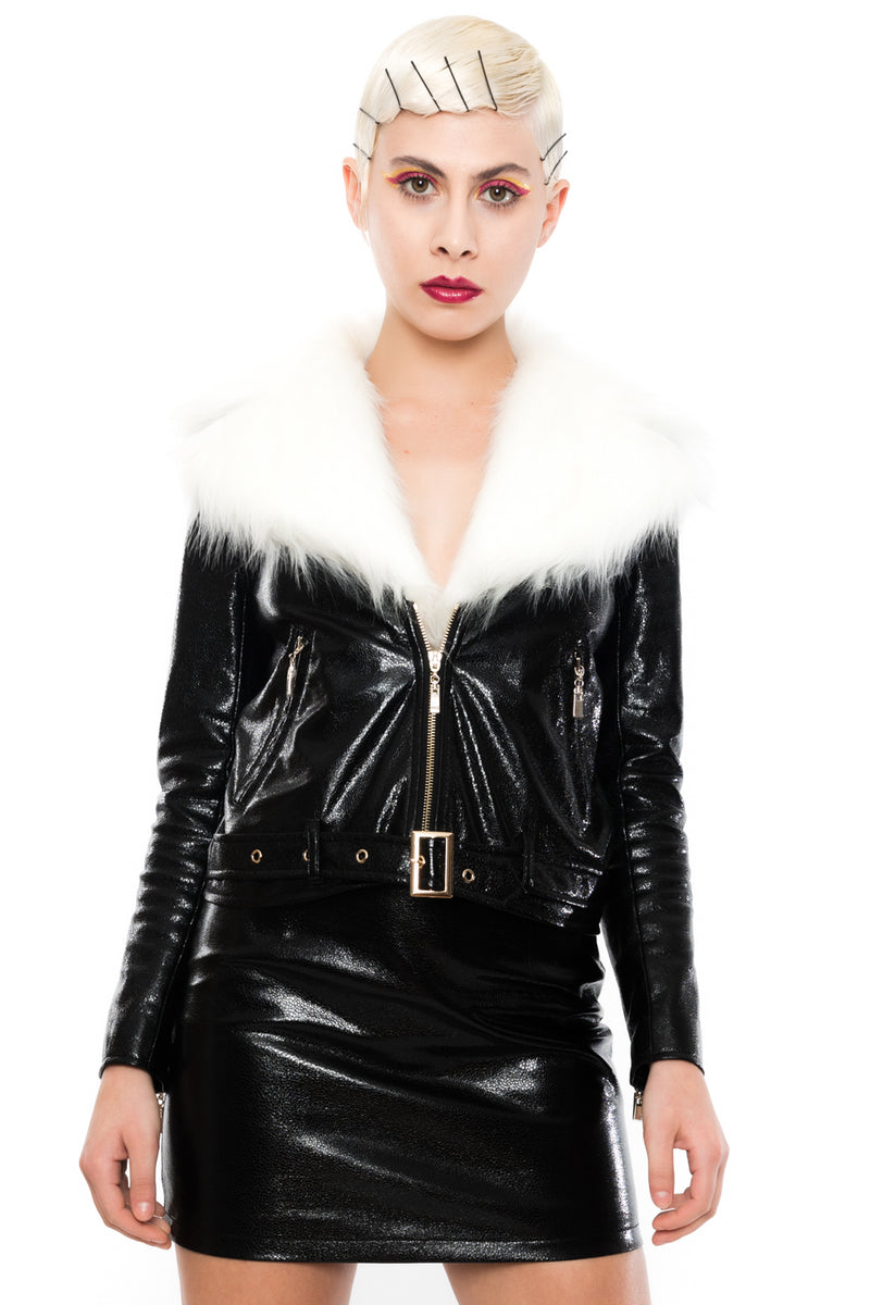Noir Down To Mars Biker Jacket