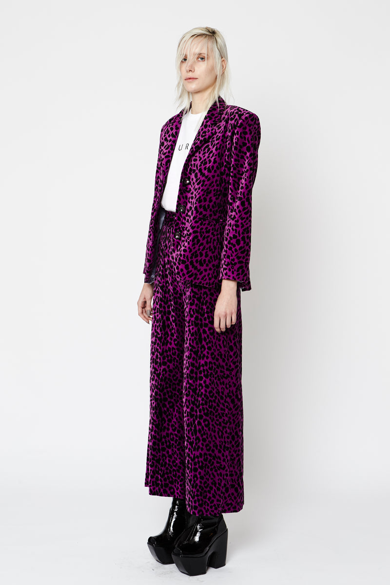 Purple Leopard Wide Leg Pants
