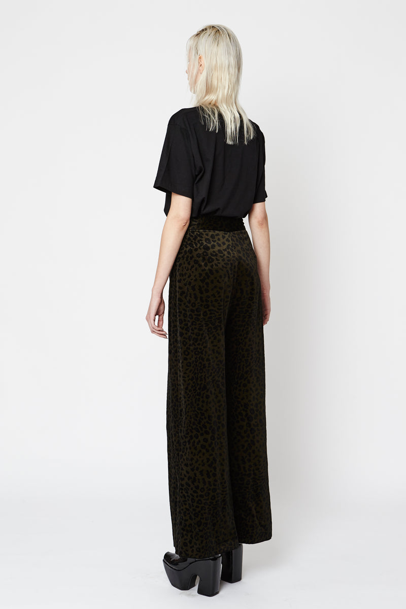 Black Leopard Wide Leg Pants