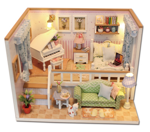 Miniature Doll House 2 story room w/piano