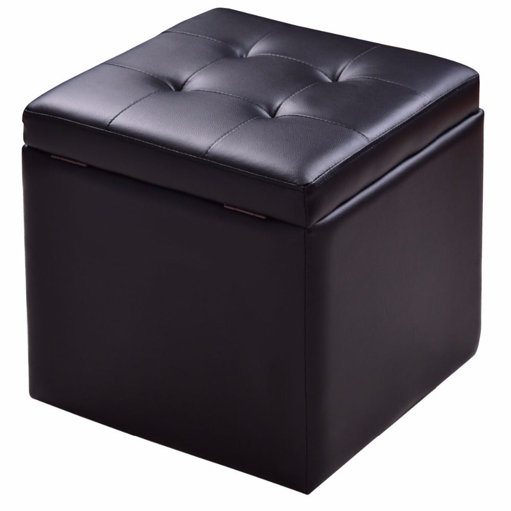 super popular f965f 79ad5 Square Leather Ottoman with Hinge Top