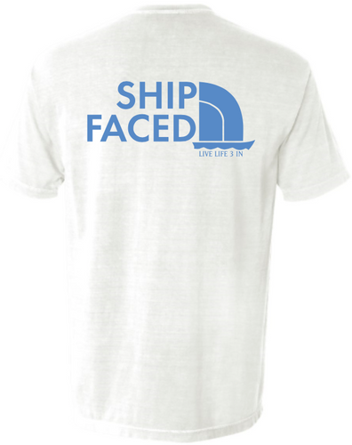 Ship Faced White Pocket Tee