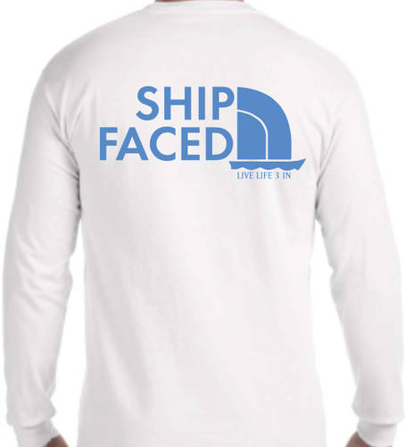 Ship Faced White Long Sleeve Pocket Tee