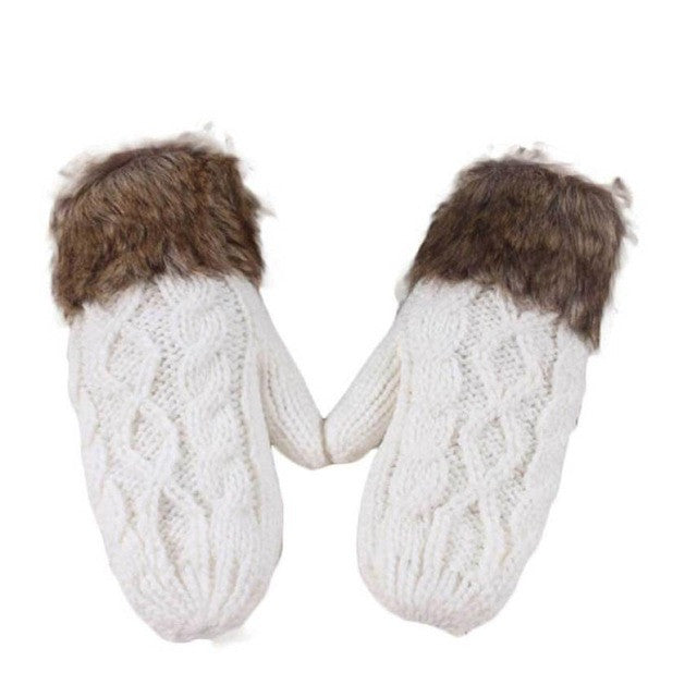 Cute Warm Knitted Winter Mittens