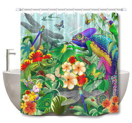 Chameleon Jungle Shower Curtain - Two Sizes!