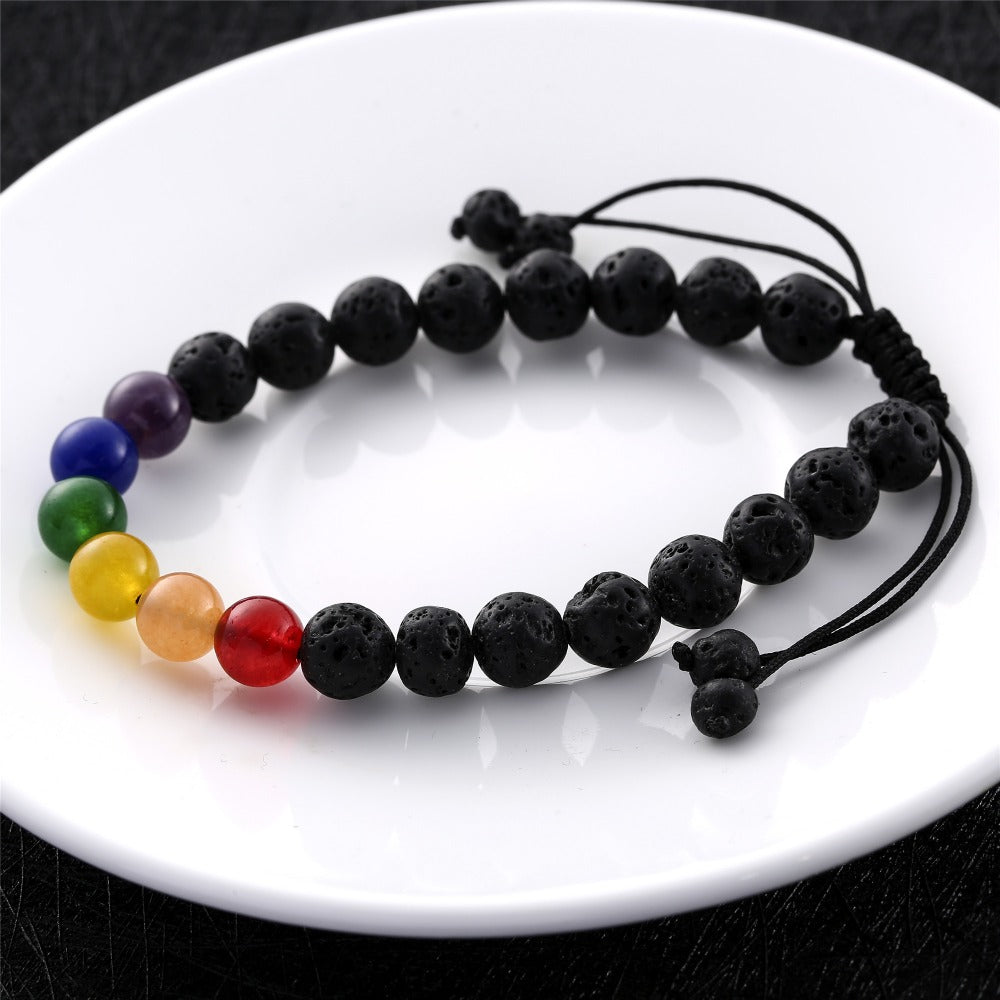 merchantscheap bead rope chakra shop men dog yoga bracelet paw elastic healing rainbow natural com stone women
