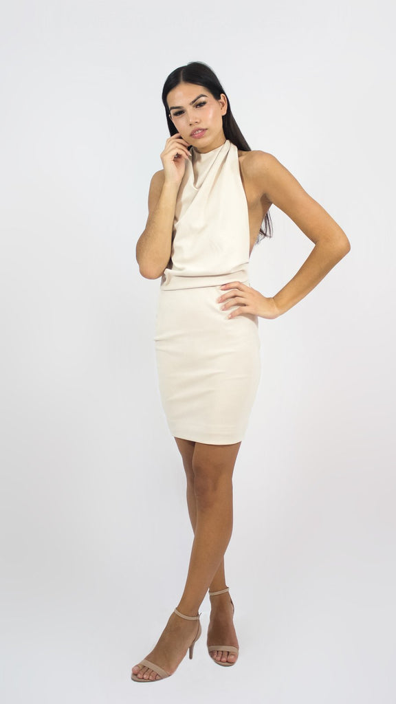 Sleeveless Cream Halter Dress
