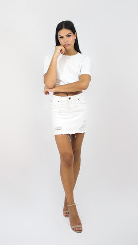 White Distressed Skirt