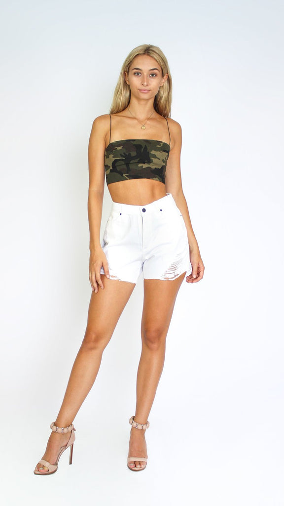 Distressed High Rise Girlfriend Short
