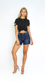 High Rise Denim Girlfriend Short