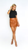 Panelled Brown Faux Leather Skirt