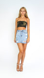 Distressed High Waisted Denim Skirt