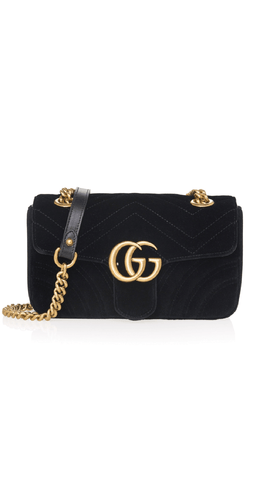 GG Marmont Velvet Bag in Black