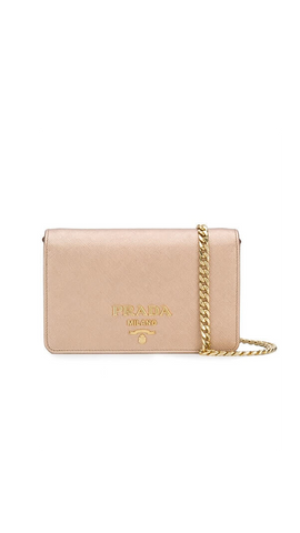 Saffiano Leather Shoulder Bag in Pink
