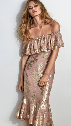 Blushing Lotus Off Shoulder Dress in Dusky Pink