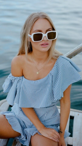One Shoulder Ruffle Top in Dusted Blue Stripe