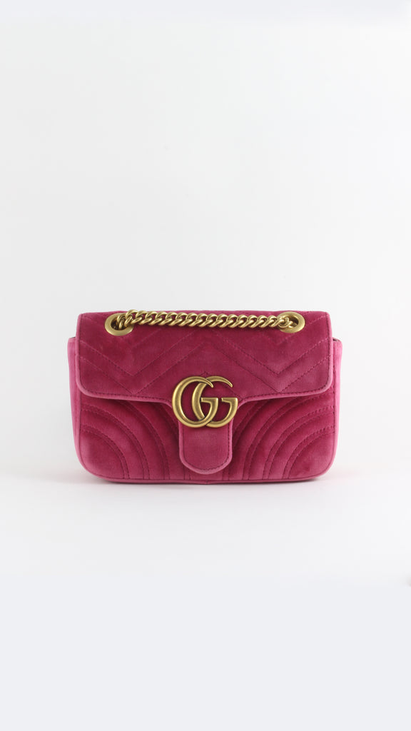 GG Marmont Velvet Mini Bag in Candy Pink