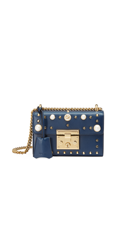 Padlock Pearl Studded Leather Shoulder Bag