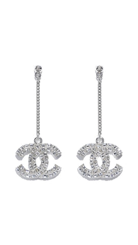 Chanel Pave Crystal CC Drop Earrings