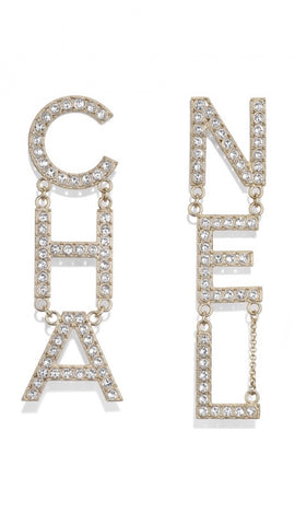 Chanel Crystal Letter Logo Earrings