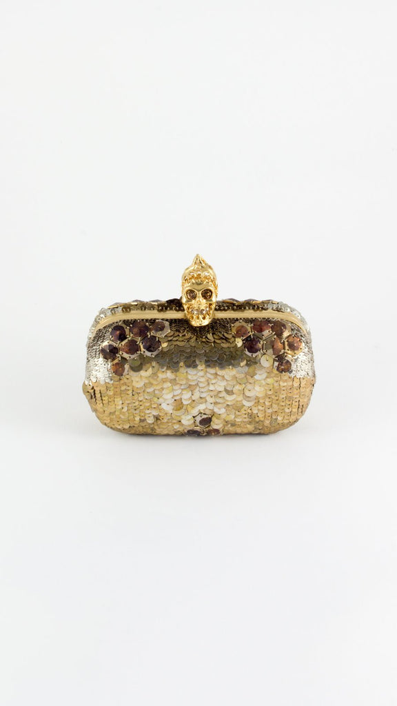 Jaw Skull Sequined Box Clutch