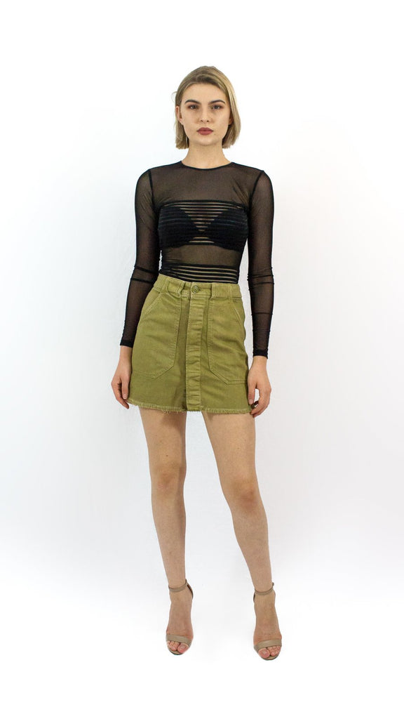 Cut-off Olive Skirt