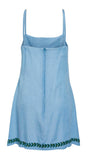 Austen Girl Pinafore in Chambray Rose